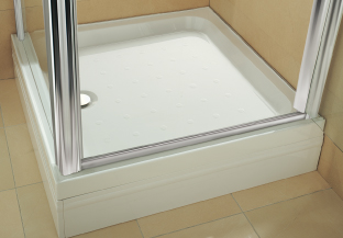 Coratech® Riser Showertray from Coram Showers offers an easier, lower cost alternative to building a plinth, because the plumbing connections are concealed beneath the 220mm high tray, which offers easy access via removable panels.