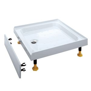 Coram 900 x 900mm White 3 Upstands / 1 Panel Riser Tray