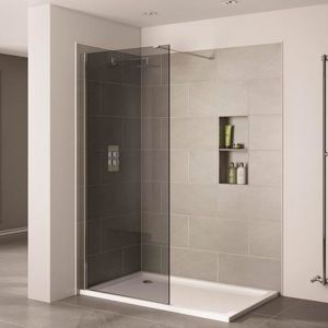 April Prestige2 1000mm Wetroom Panel 10mm Smoked Glass