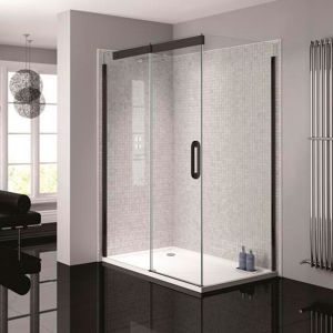 April Prestige2 1400mm Black Left Hand Sliding Door with Clear Glass