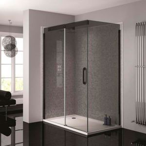 April Prestige2 1400mm Black Left Hand Sliding Door with Smoked Glass