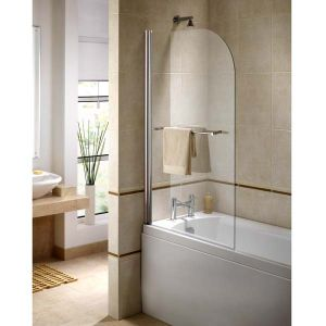 Ellbee Profile Plus Clear Glass Classic Bath Screen with Rise and Fall Hinge 800mm