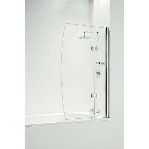 Coram Hinged D 800mm Bath Screen with Panel