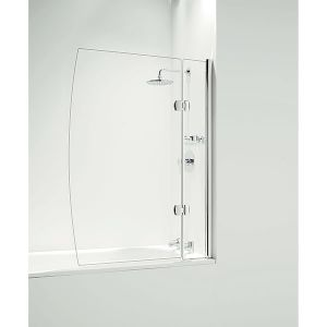 Coram Hinged D Bath Screen with Panel 1050mm