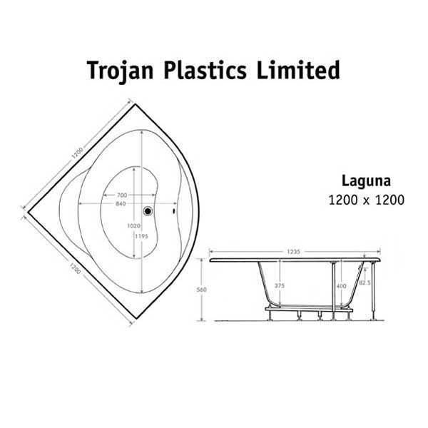 technical information for Laguna Corner Bath  1200 x 1200