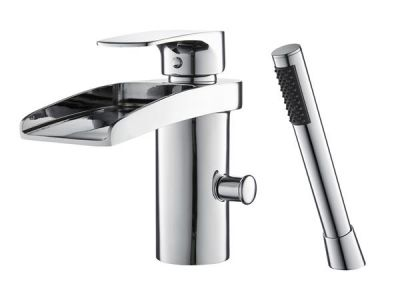 Mayfair Ohio Chrome Waterfall Bath Shower Mixer Tap with Deck-mounted Handset Holder OHI050