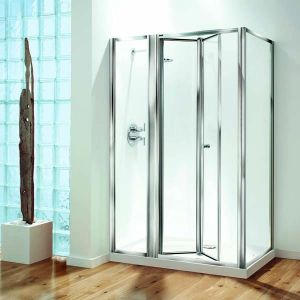 1200mm Coram Optima Inline Panel Bi Fold Doors Shower Enclosures Oil12cuc From Mbd Bathrooms