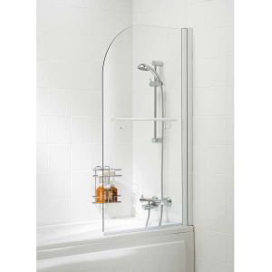 Lakes Bath Screen -Single Panel Curved with Towel Rail
