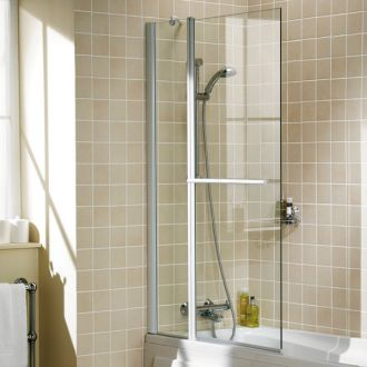 Lakes Bath Screen - Double Panel Square with Towel Rail
