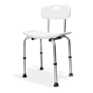 AKW Aluminium Freestanding Shower Seat with Back Support