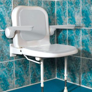 4000 Series Standard Shower Seat with Back and Arms - White Unpadded