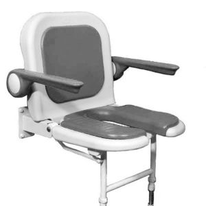 4000 Series Standard Horseshoe Seat with Back and Arms - White Unpadded