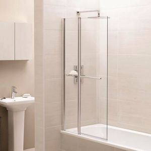 April Identiti2 1400 x 900mm Square Fixed Panel Single Bath Screen with Towel Rail