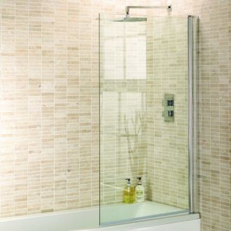 An Aquadart Square Shower Screen for Bath Use