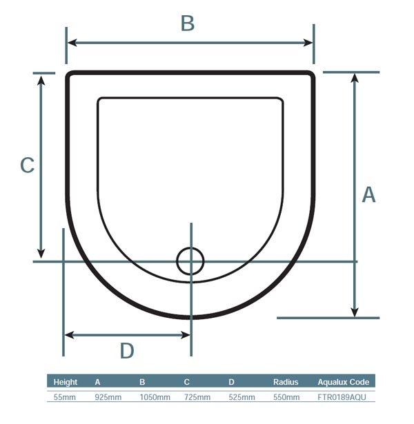 925mm x 1050mm Aqualux Pura D Shape Quadrant Shower Enclosure ...