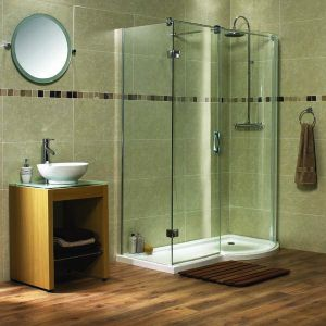 Aqualux AquaSpace B-Shape Walk-in  Shower Including Tray 800mm x 1400mm