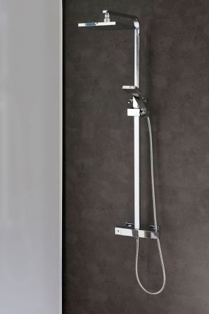Brix Exposed Thermostatic Shower Valve with Rigid Riser and Handset