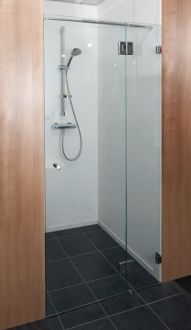 Canberra Frameless Corner Enclosure with Single Door Wall to wall - with Single Door