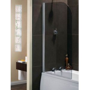 Ellbee Profile Plus Platinum Glass Classic Bath Screen with Rise and Fall Hinge 800mm