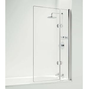 Coram Hinged 800mm Square Bath Screen with Panel