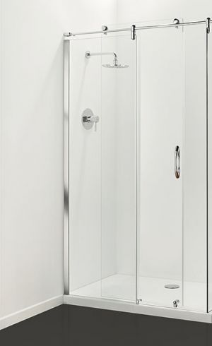 Coram Premier Frameless Sliding Door 1200mm Plain Glass
