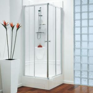 Coram Showerpod - 805mm x 805mm Premier Corner Pod with Pivot Door and Side Panel Chrome