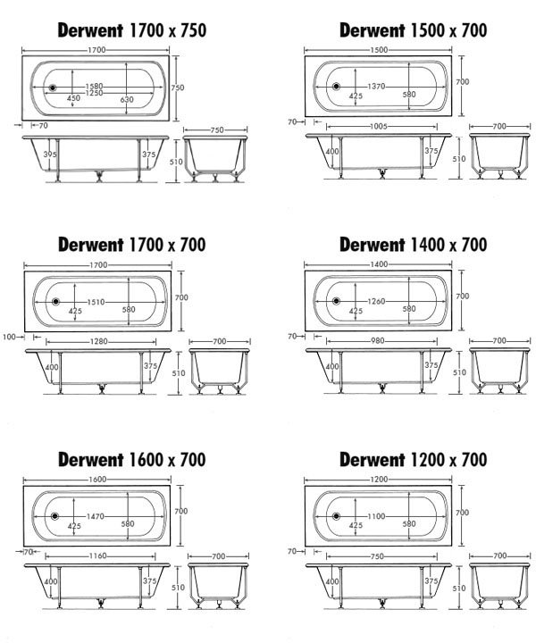 Derwent bath many sizes available straight baths for Soaking bathtub sizes