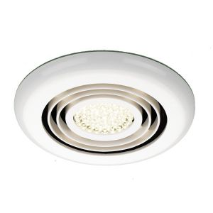 HIB Cyclone Wet Room Inline Fan White - Warm White LED