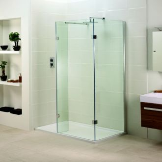 Aquadart Inline Open Side Fixed Panel Walk In 900mm with 900mm side panel