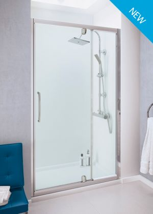 1200mm Lakes Semi-Frameless Pivot Door with integrated In-line Panel