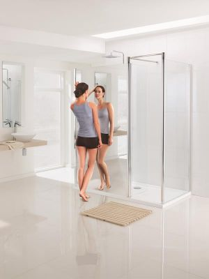 Lakes Mirror 1000mm Walk In Enclosure with Side Panel
