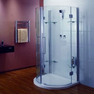 925mm x 1050mm Aqualux Pura D Shape Quadrant Shower Enclosure