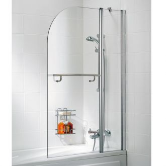 Lakes Bath Screen - Double Panel Curved with Towel Rail