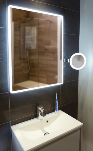 HiB Vega 60 LED Steam-Free Bathroom Mirror with Charging Socket